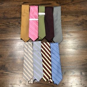 Set of 9 DKNY and Calvin Klein Ties